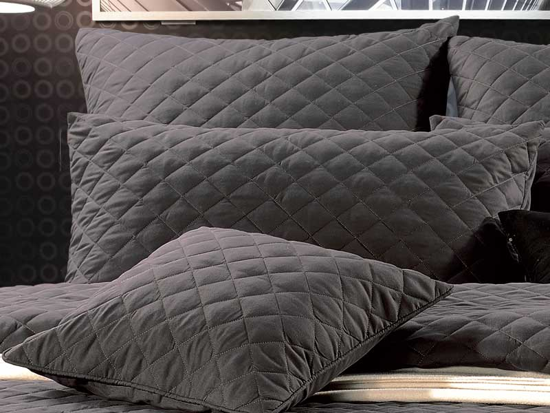 Rio Diamond Charcoal Grey 3pc Queen King Size Quilted